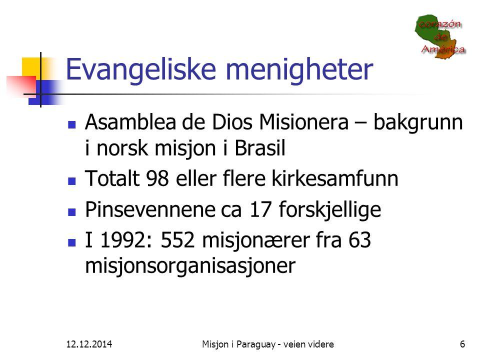 12.12.2014Misjon i Paraguay - veien videre6 Evangeliske menigheter Asamblea de Dios Misionera – bakgrunn i norsk misjon i Brasil Totalt 98 eller flere