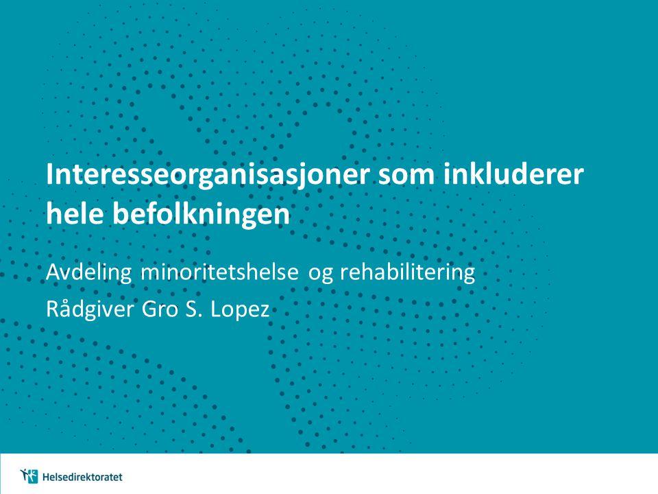 Interesseorganisasjoner som inkluderer hele befolkningen Avdeling minoritetshelse og rehabilitering Rådgiver Gro S.