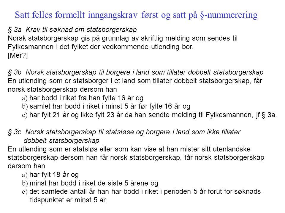 § 3a Krav til søknad om statsborgerskap Norsk statsborgerskap gis på grunnlag av skriftlig melding som sendes til Fylkesmannen i det fylket der vedkom