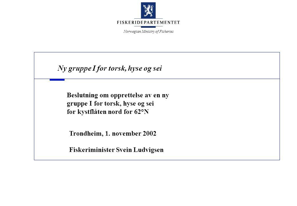Norwegian Ministry of Fisheries Verdier fra havet - Norges framtid Disposisjon Bakgrunn og hensikt - Hvorfor adgangsbegrense.