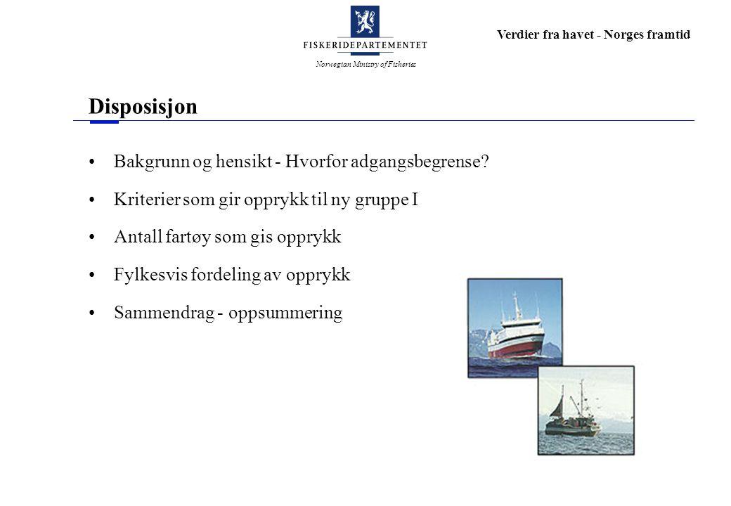 Norwegian Ministry of Fisheries Verdier fra havet - Norges framtid Bakgrunn og hensikt - Hvorfor adgangsbegrense.
