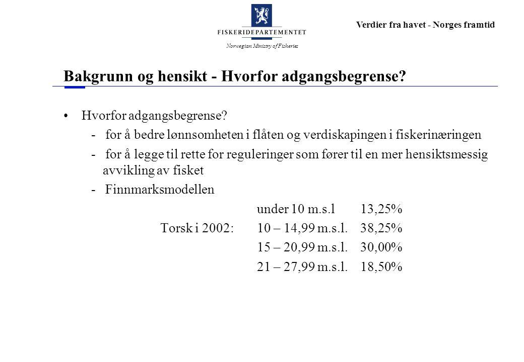 Norwegian Ministry of Fisheries Verdier fra havet - Norges framtid Bakgrunn og hensikt forts.
