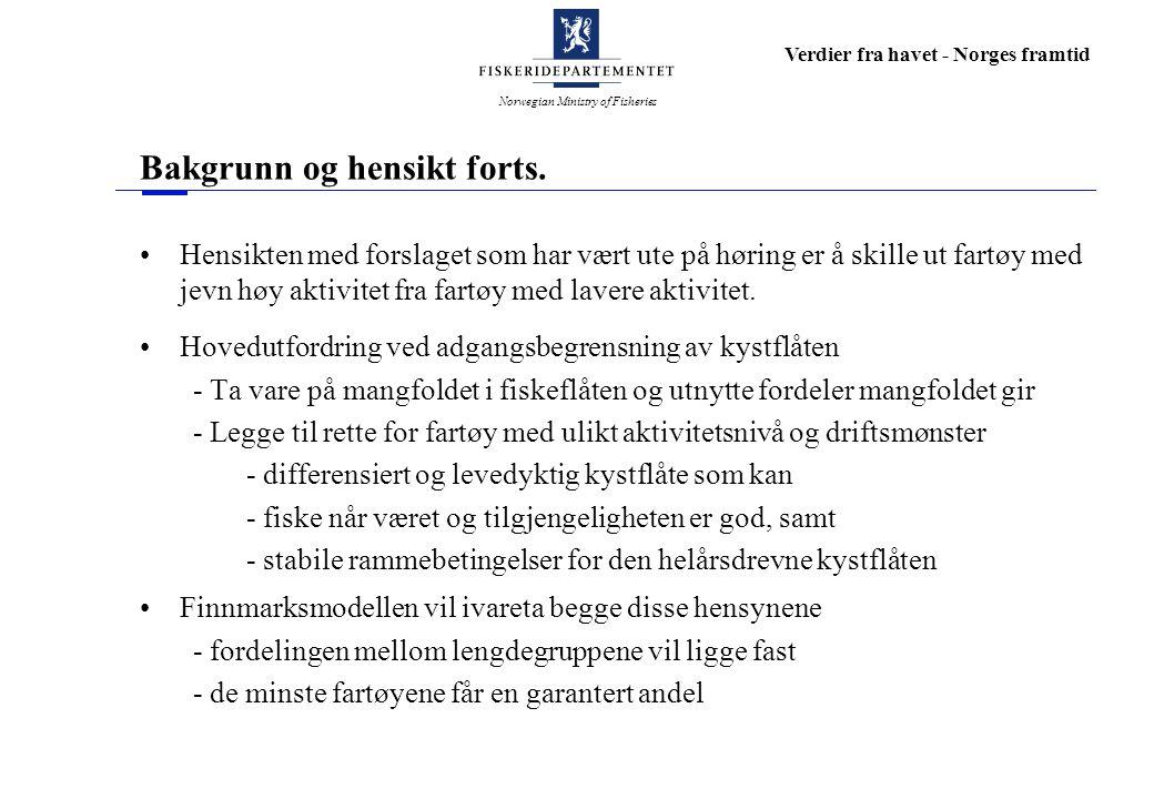 Norwegian Ministry of Fisheries Verdier fra havet - Norges framtid Kvalifiseringskrav fartøyet har fisket og levert minst 90% av maksimalkvoten gitt fra årets begynnelse av hyse eller sei i ett av årene 1999, 2000 eller 2001, eller fartøyet har fisket og levert minst 75% av maksimalkvoten gitt fra årets begynnelse av torsk og minst 75% av maksimalkvoten gitt fra årets begynnelse av hyse eller sei i ett av årene 1999, 2000 eller 2001, eller fartøyet har fisket og levert minst 90% av maksimalkvoten gitt fra årets begynnelse av torsk og minst 50% av maksimalkvoten gitt fra årets begynnelse av hyse eller sei i ett av årene 1999, 2000 eller 2001.