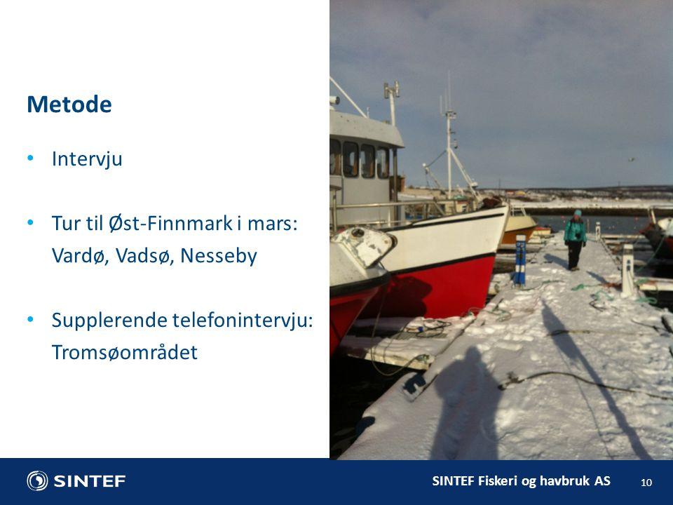 SINTEF Fiskeri og havbruk AS Metode 10 Intervju Tur til Øst-Finnmark i mars: Vardø, Vadsø, Nesseby Supplerende telefonintervju: Tromsøområdet