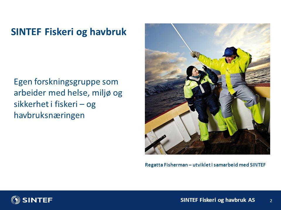 SINTEF Fiskeri og havbruk AS 2 SINTEF Fiskeri og havbruk Egen forskningsgruppe som arbeider med helse, miljø og sikkerhet i fiskeri – og havbruksnæringen Regatta Fisherman – utviklet i samarbeid med SINTEF