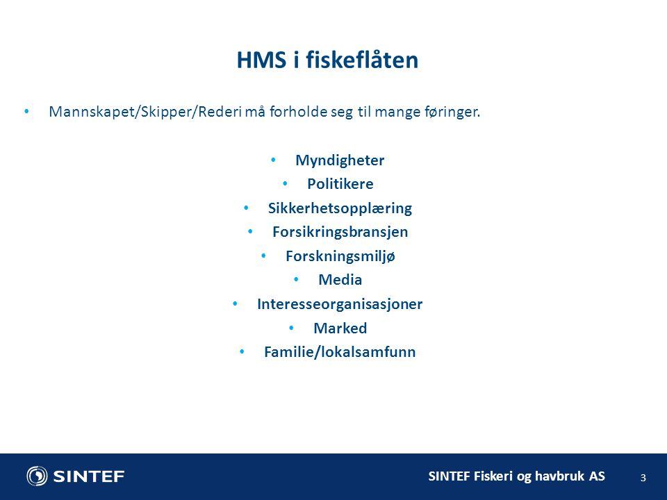SINTEF Fiskeri og havbruk AS HMS i fiskeflåten 3 Mannskapet/Skipper/Rederi må forholde seg til mange føringer.