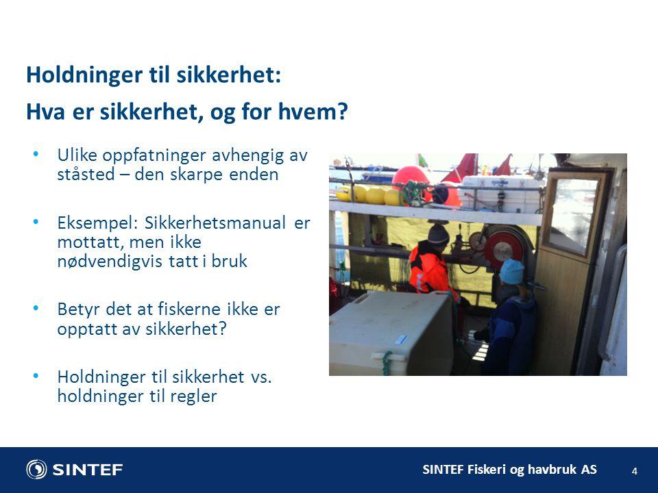 SINTEF Fiskeri og havbruk AS 5 Fiskere gjør en rekke ting for å ivareta sikkerheten: eks.