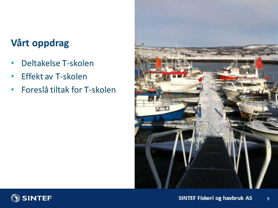 SINTEF Fiskeri og havbruk AS Vårt oppdrag 9 Deltakelse T-skolen Effekt av T-skolen Foreslå tiltak for T-skolen