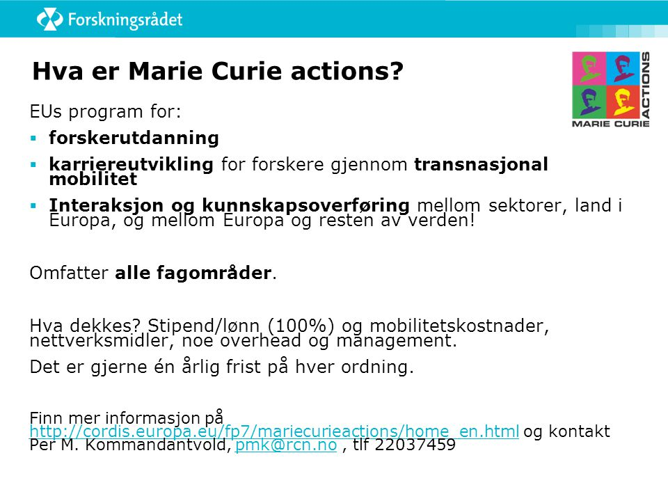 Hva er Marie Curie actions.