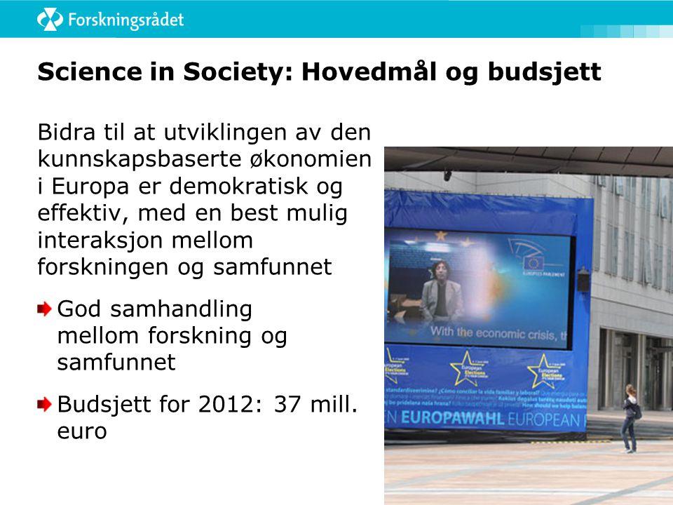 Science in Society: Hovedmål og budsjett Bidra til at utviklingen av den kunnskapsbaserte økonomien i Europa er demokratisk og effektiv, med en best mulig interaksjon mellom forskningen og samfunnet God samhandling mellom forskning og samfunnet Budsjett for 2012: 37 mill.