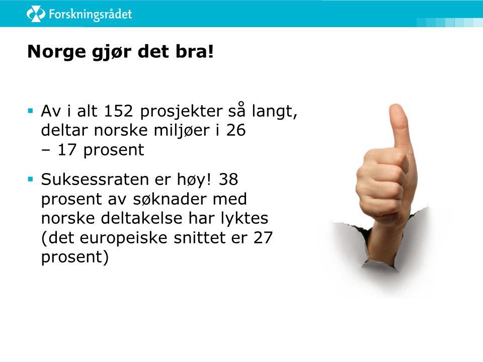FP7: 2012 og 2013 gjenstår  Frist 2012: 22.