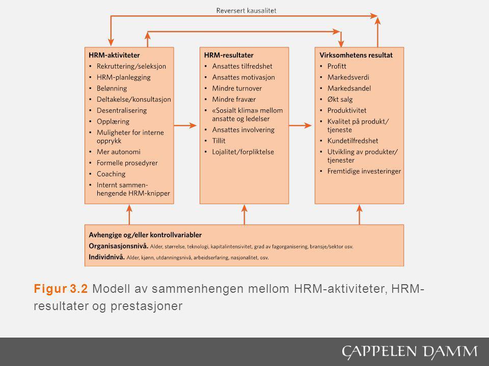 Figur 3.2 Modell av sammenhengen mellom HRM-aktiviteter, HRM- resultater og prestasjoner
