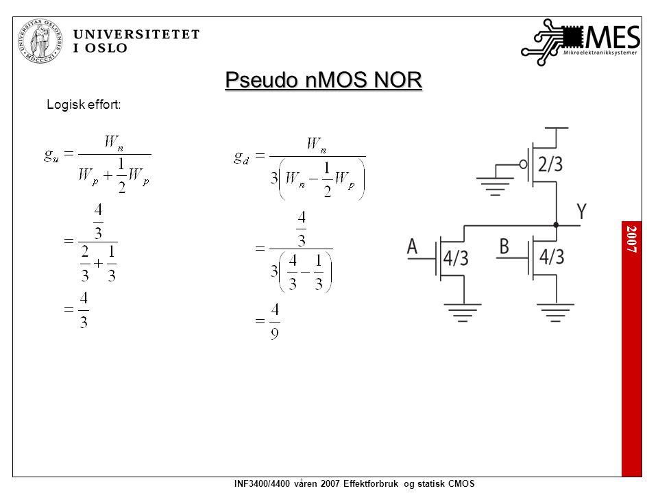 2007 INF3400/4400 våren 2007 Effektforbruk og statisk CMOS Pseudo nMOS NOR Logisk effort: