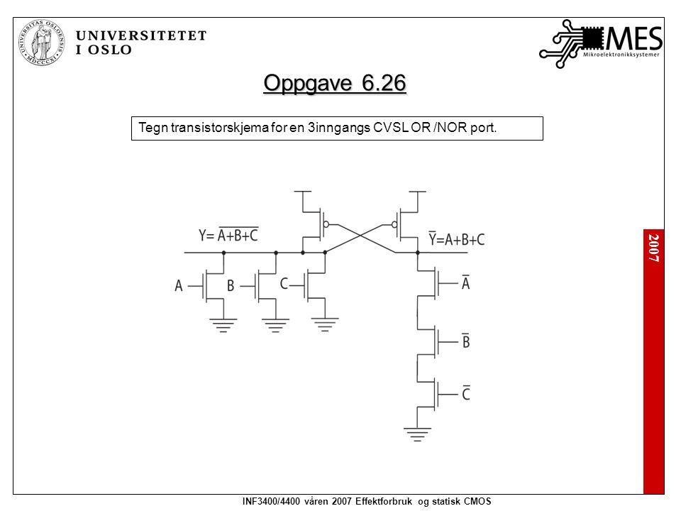 2007 INF3400/4400 våren 2007 Effektforbruk og statisk CMOS Oppgave 6.26 Tegn transistorskjema for en 3inngangs CVSL OR /NOR port.