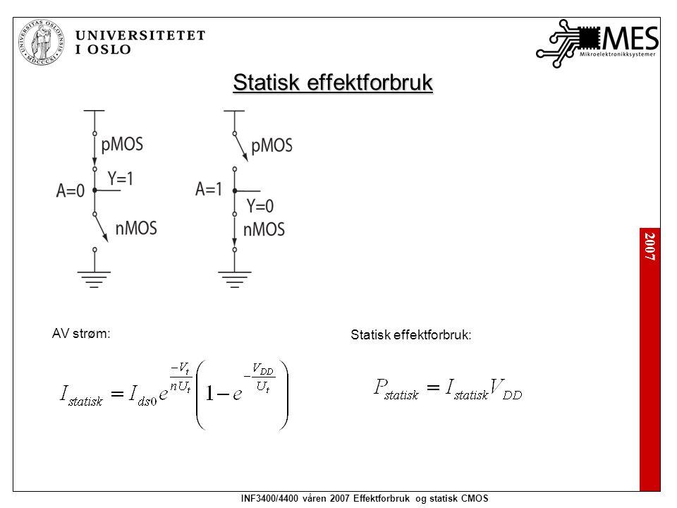 2007 INF3400/4400 våren 2007 Effektforbruk og statisk CMOS Statisk effektforbruk AV strøm: Statisk effektforbruk: