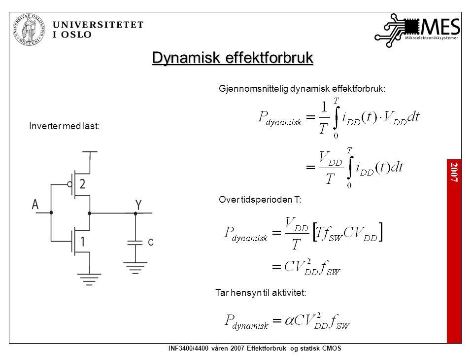 2007 INF3400/4400 våren 2007 Effektforbruk og statisk CMOS Dynamisk effektforbruk Inverter med last: Gjennomsnittelig dynamisk effektforbruk: Tar hensyn til aktivitet: Over tidsperioden T: