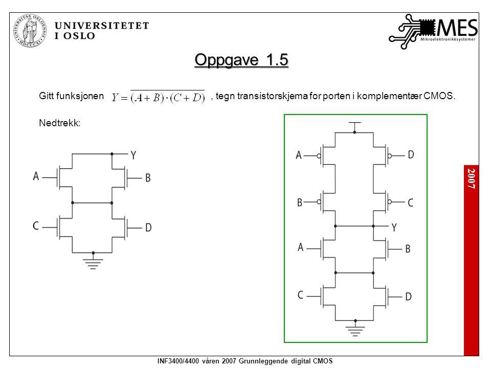 2007 INF3400/4400 våren 2007 Grunnleggende digital CMOS Oppgave 1.5 Gitt funksjonen, tegn transistorskjema for porten i komplementær CMOS. Nedtrekk: