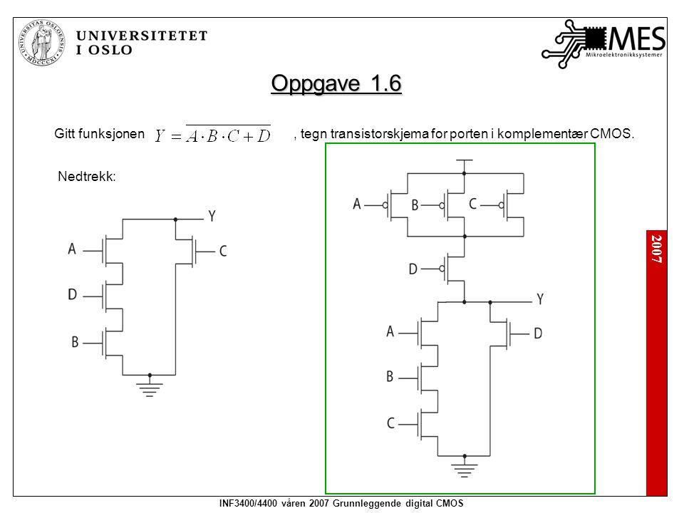2007 INF3400/4400 våren 2007 Grunnleggende digital CMOS Oppgave 1.6 Gitt funksjonen, tegn transistorskjema for porten i komplementær CMOS. Nedtrekk: