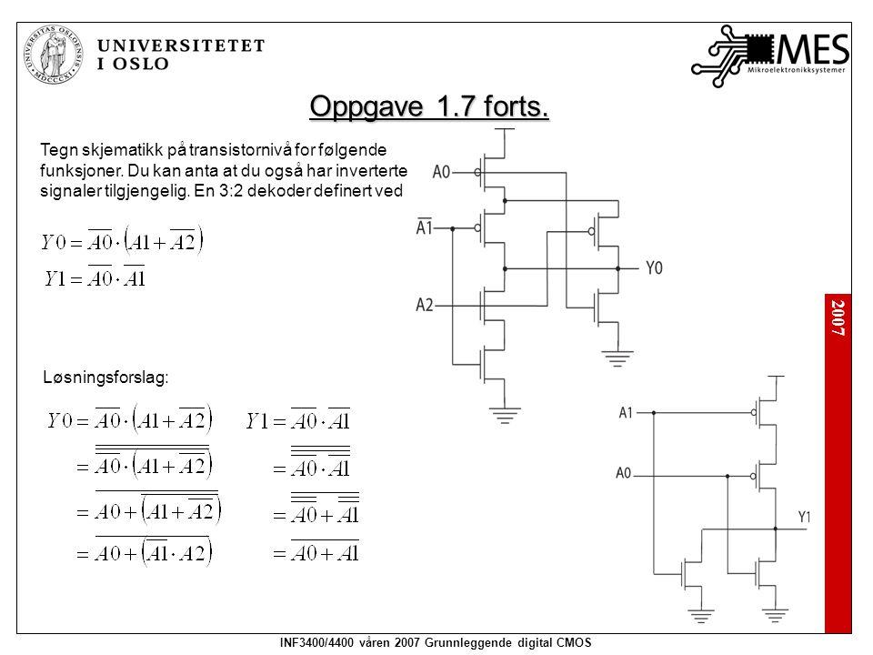 2007 INF3400/4400 våren 2007 Grunnleggende digital CMOS Tegn skjematikk på transistornivå for følgende funksjoner. Du kan anta at du også har inverter