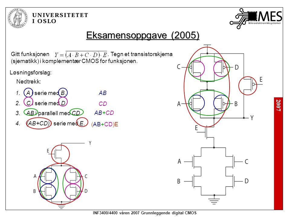 2007 INF3400/4400 våren 2007 Grunnleggende digital CMOS Eksamensoppgave (2005) Gitt funksjonen. Tegn et transistorskjema (sjematikk) i komplementær CM