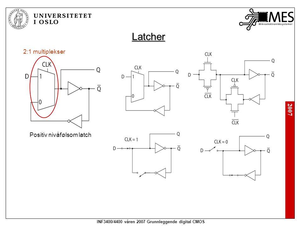 2007 INF3400/4400 våren 2007 Grunnleggende digital CMOS Latcher 2:1 multiplekser Positiv nivåfølsom latch