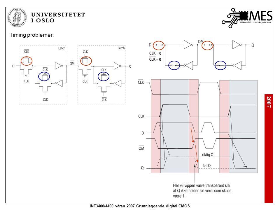 2007 INF3400/4400 våren 2007 Grunnleggende digital CMOS Timing problemer: