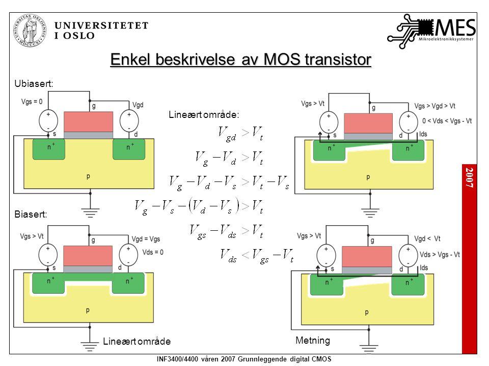 2007 INF3400/4400 våren 2007 Grunnleggende digital CMOS Enkel beskrivelse av MOS transistor Ubiasert: Biasert: Lineært område Metning Lineært område: