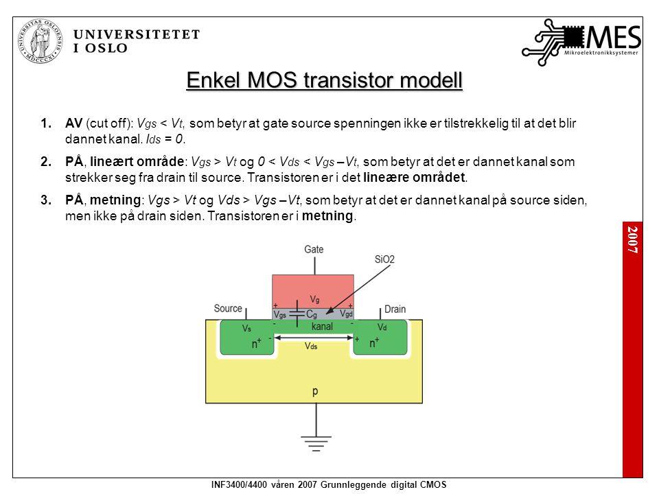 2007 INF3400/4400 våren 2007 Grunnleggende digital CMOS Enkel MOS transistor modell 1.AV (cut off): V gs < V t, som betyr at gate source spenningen ik