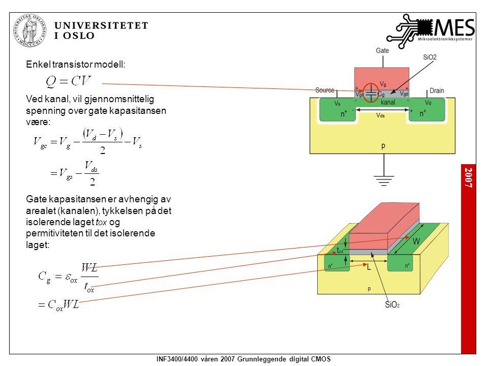 2007 INF3400/4400 våren 2007 Grunnleggende digital CMOS Enkel transistor modell: Ved kanal, vil gjennomsnittelig spenning over gate kapasitansen være: