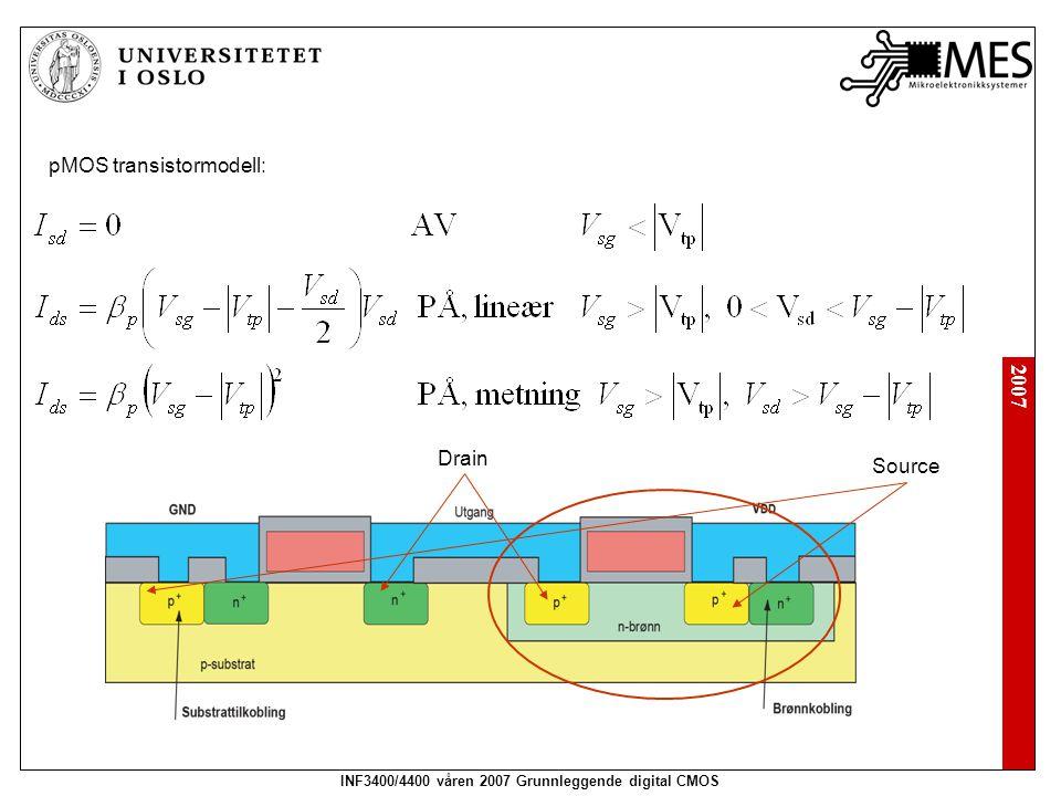 2007 INF3400/4400 våren 2007 Grunnleggende digital CMOS pMOS transistormodell: Source Drain