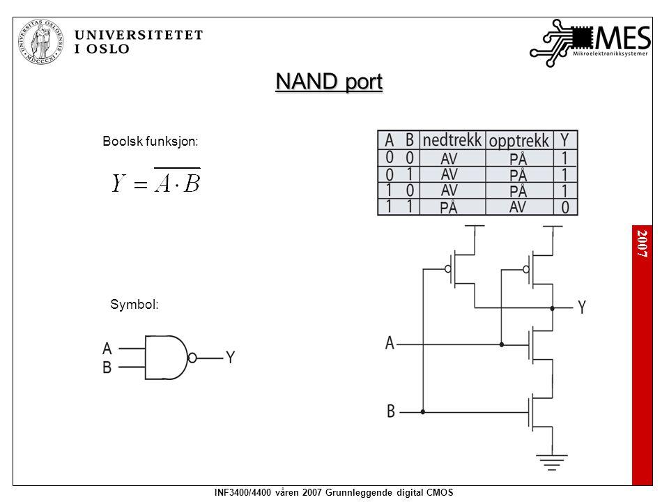 2007 INF3400/4400 våren 2007 Grunnleggende digital CMOS NAND port Boolsk funksjon: Symbol: