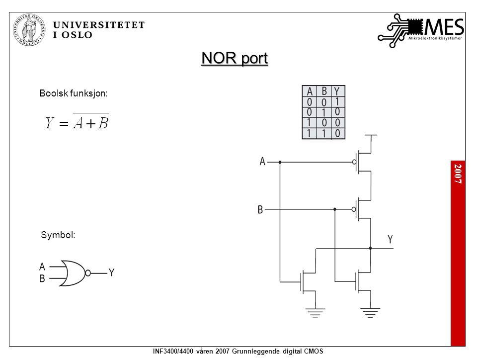 2007 INF3400/4400 våren 2007 Grunnleggende digital CMOS NOR port Boolsk funksjon: Symbol: