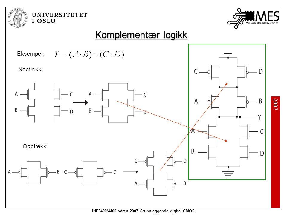 2007 INF3400/4400 våren 2007 Grunnleggende digital CMOS Komplementær logikk Eksempel: Nedtrekk: Opptrekk: