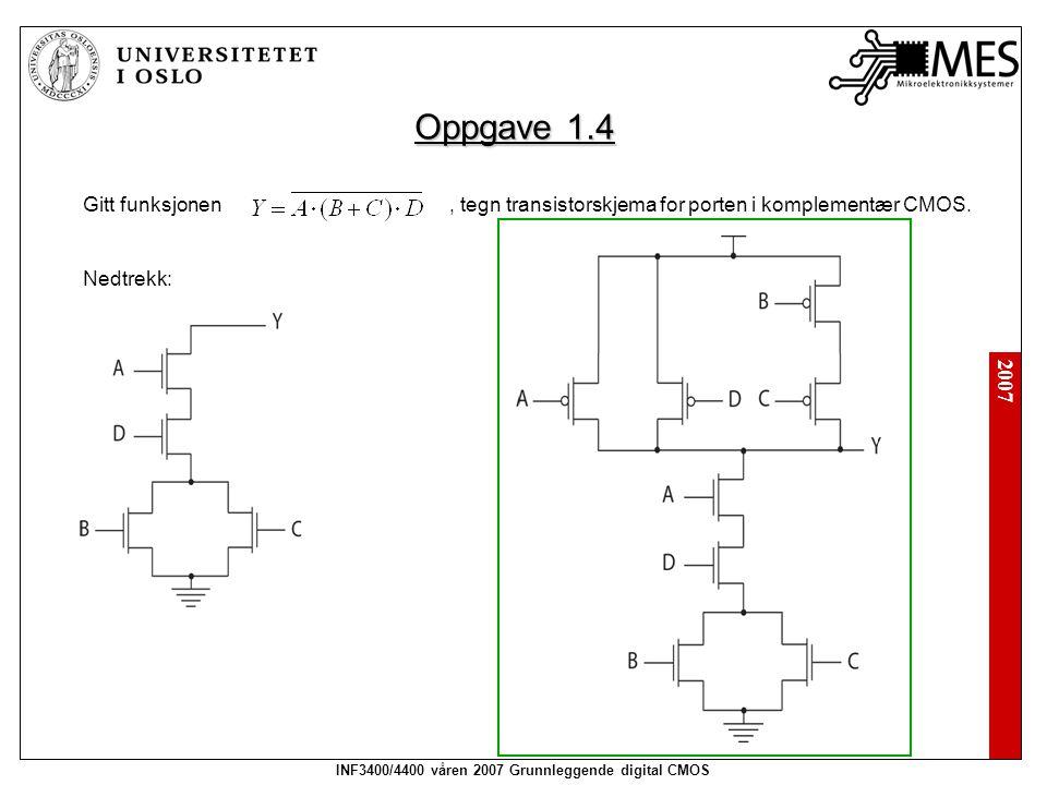 2007 INF3400/4400 våren 2007 Grunnleggende digital CMOS Oppgave 1.4 Gitt funksjonen, tegn transistorskjema for porten i komplementær CMOS. Nedtrekk: