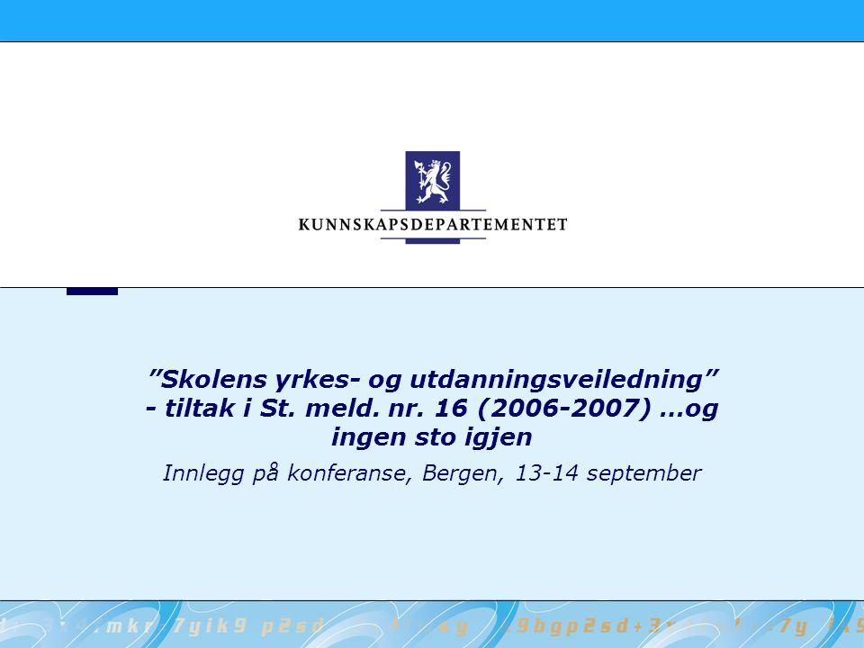 12 Kunnskapsdepartementet Siste nytt… Oppdragsbrev sendes Utdanningsdirektoratet i september om forskriftsendring (deling av rådgivningstjenesten), veiledende kompetansekriterier og forsøk med individuell utviklingsplan.