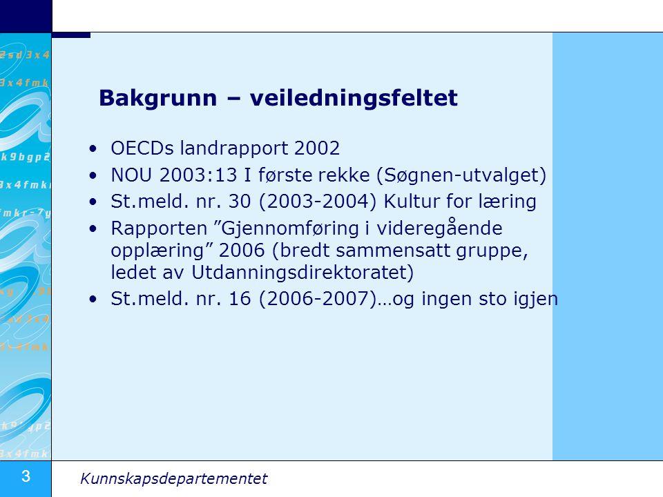 3 Kunnskapsdepartementet Bakgrunn – veiledningsfeltet OECDs landrapport 2002 NOU 2003:13 I første rekke (Søgnen-utvalget) St.meld.