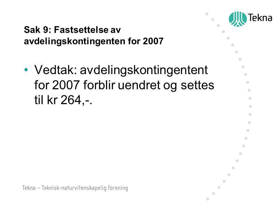 Sak 9: Fastsettelse av avdelingskontingenten for 2007 Vedtak: avdelingskontingentent for 2007 forblir uendret og settes til kr 264,-.