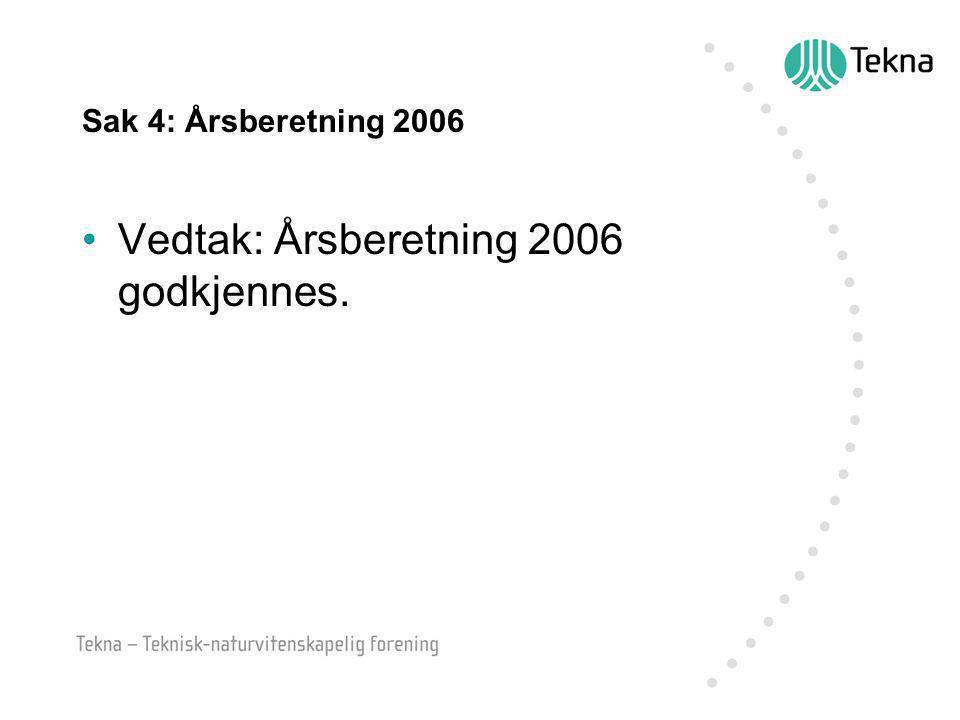 Sak 4: Årsberetning 2006 Vedtak: Årsberetning 2006 godkjennes.