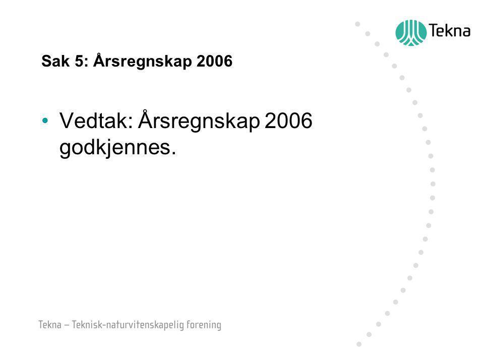 Sak 5: Årsregnskap 2006 Vedtak: Årsregnskap 2006 godkjennes.