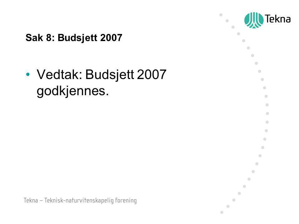 Sak 8: Budsjett 2007 Vedtak: Budsjett 2007 godkjennes.