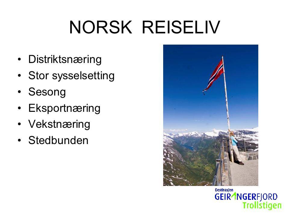 NORSK REISELIV Distriktsnæring Stor sysselsetting Sesong Eksportnæring Vekstnæring Stedbunden