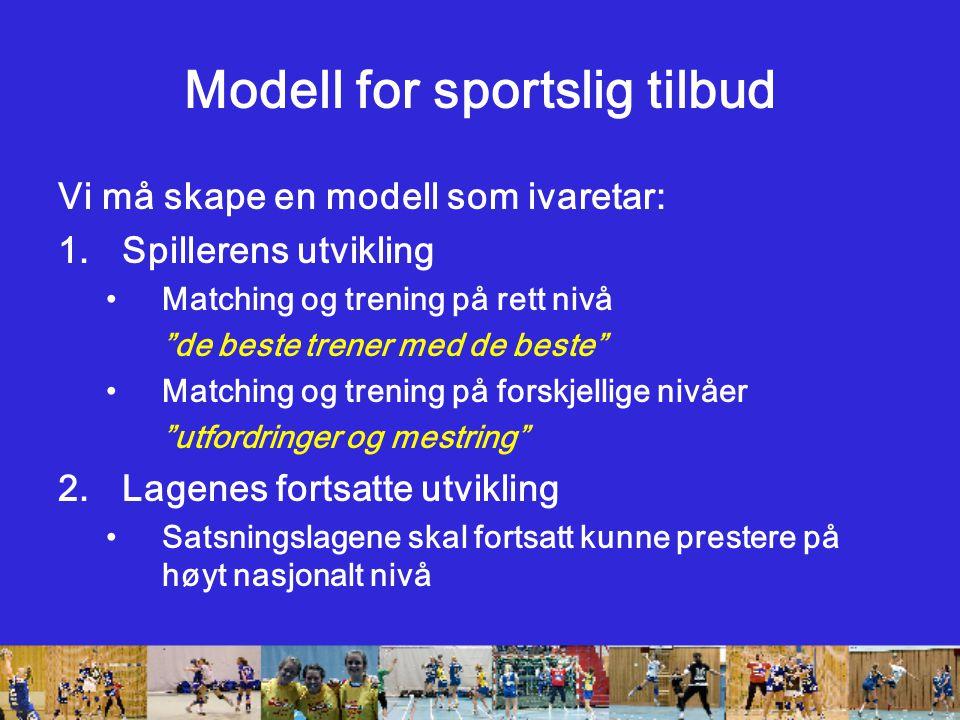 Modell for sportslig tilbud Vi må skape en modell som ivaretar: 1.Spillerens utvikling Matching og trening på rett nivå de beste trener med de beste Matching og trening på forskjellige nivåer utfordringer og mestring 2.Lagenes fortsatte utvikling Satsningslagene skal fortsatt kunne prestere på høyt nasjonalt nivå