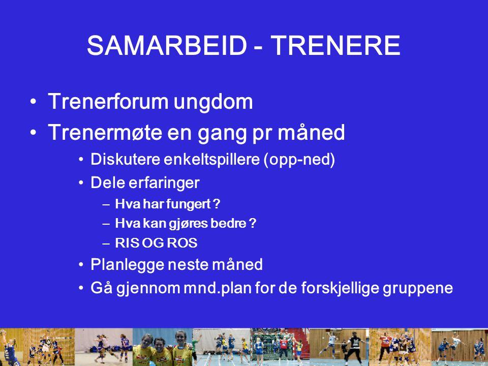 SAMARBEID - TRENERE Trenerforum ungdom Trenermøte en gang pr måned Diskutere enkeltspillere (opp-ned) Dele erfaringer –Hva har fungert .