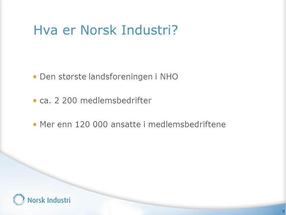8 Hva er Norsk Industri. Den største landsforeningen i NHO ca.