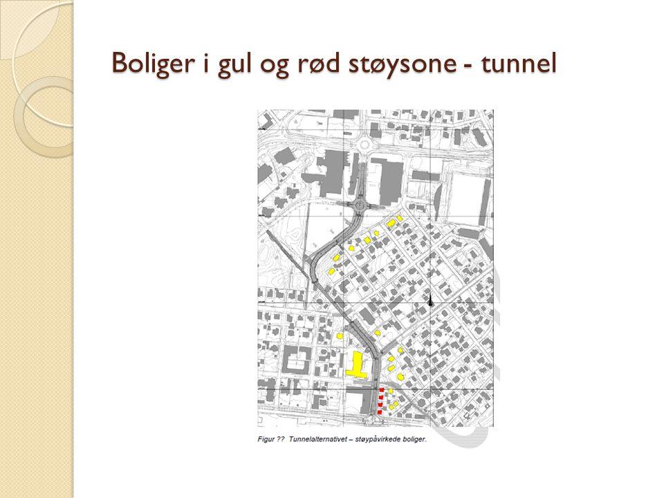 Boliger i gul og rød støysone - tunnel