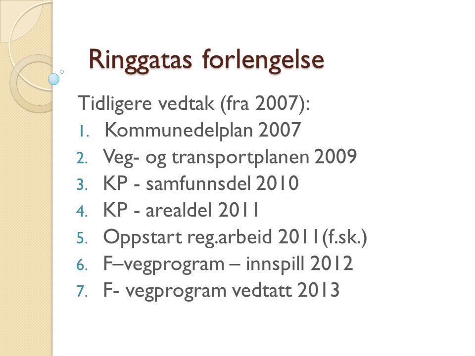 Ringgatas forlengelse Tidligere vedtak (fra 2007): 1. Kommunedelplan 2007 2. Veg- og transportplanen 2009 3. KP - samfunnsdel 2010 4. KP - arealdel 20