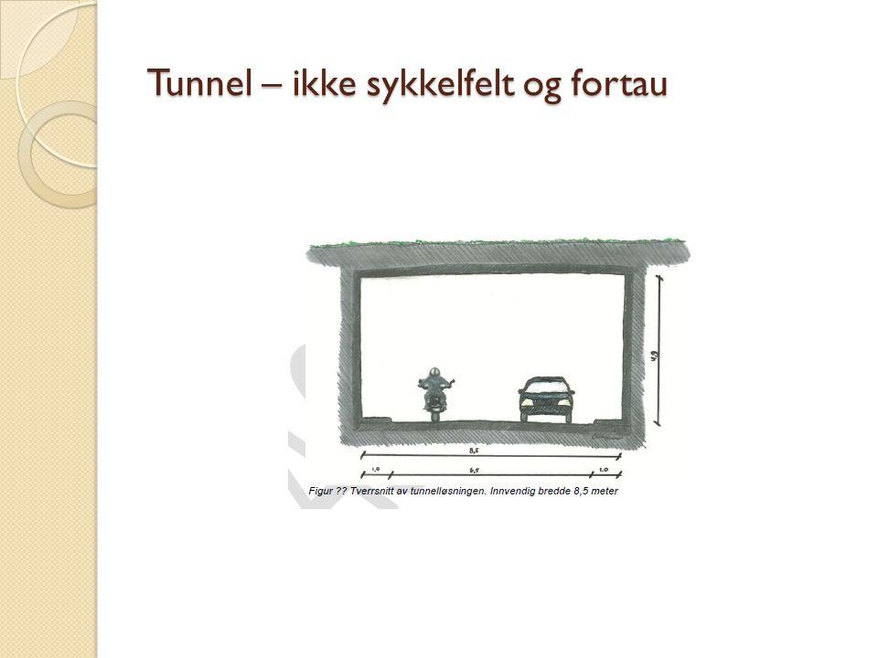 Tunnel – ikke sykkelfelt og fortau