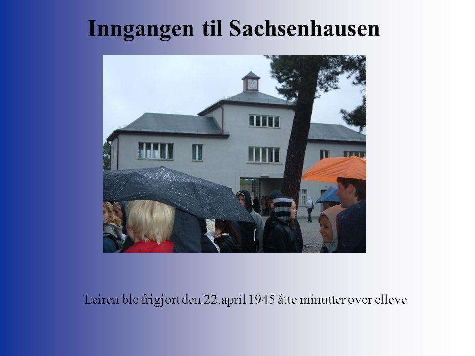 Inngangen til Sachsenhausen Leiren ble frigjort den 22.april 1945 åtte minutter over elleve