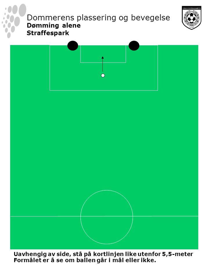 Dommerens plassering og bevegelse Dømming alene Straffespark Uavhengig av side, stå på kortlinjen like utenfor 5,5-meter Formålet er å se om ballen går i mål eller ikke.