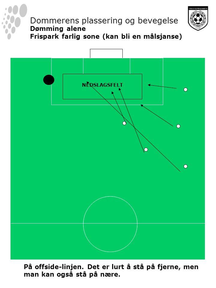 NEDSLAGSFELT Dommerens plassering og bevegelse Dømming alene Frispark farlig sone (kan bli en målsjanse) På offside-linjen.